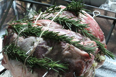 Lamb stuffed with olives & herbs